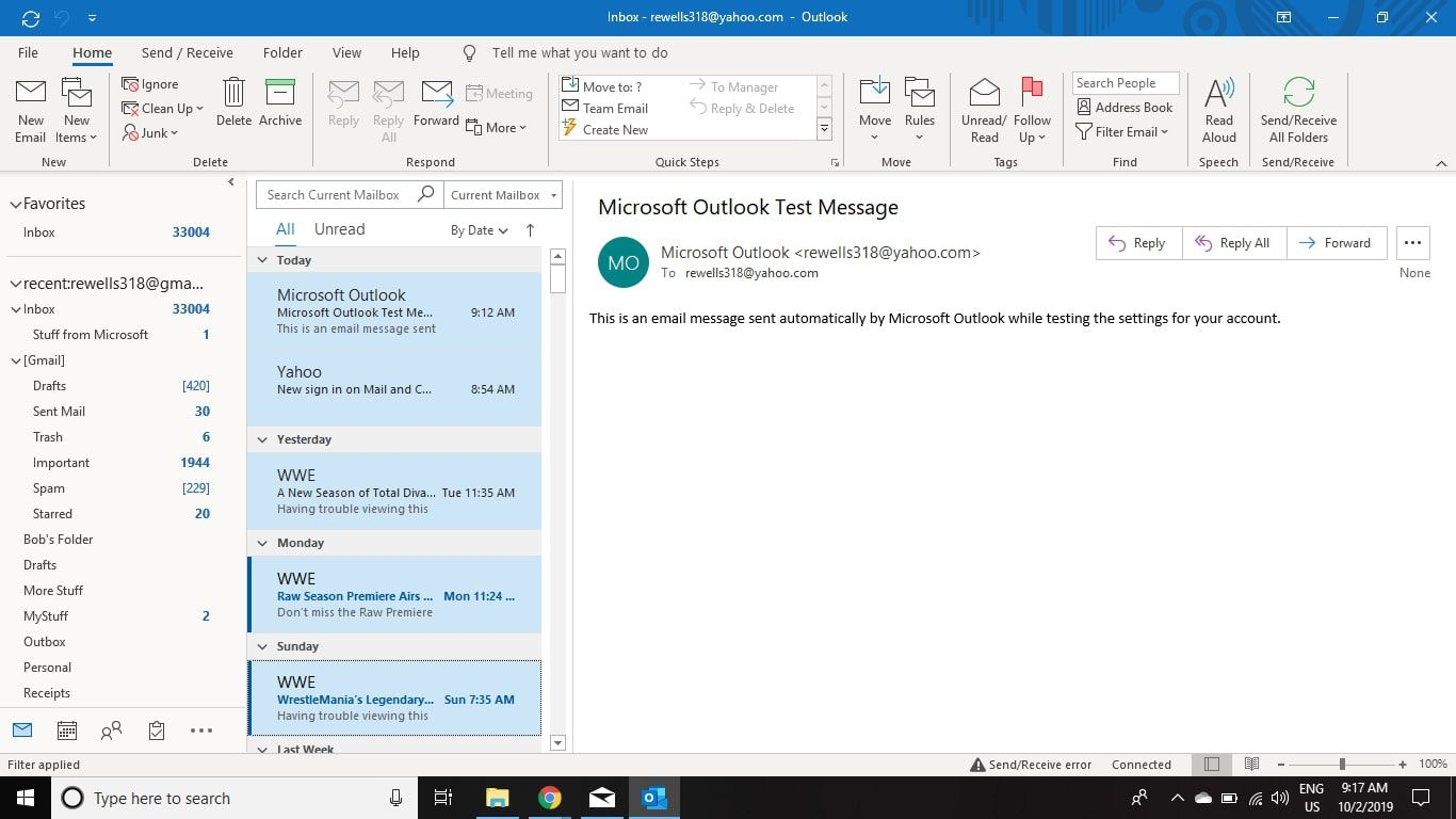 Select any messages you want to copy to Gmail in Outlook.