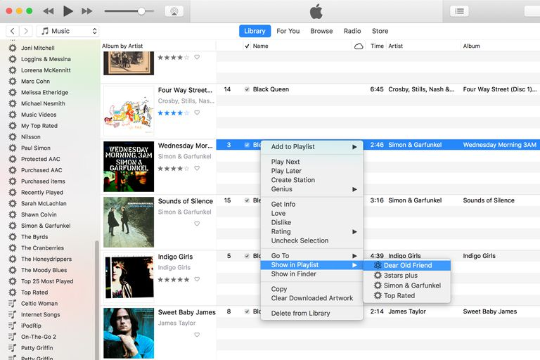 iTunes 12: Show in Playlist screenshot