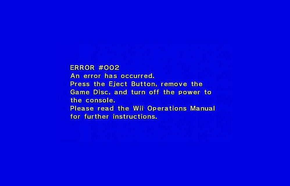 how to fix an error #002 on a homebrewed nintendo wii