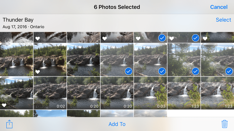 Six photos selected in the iOS 10 Photos app