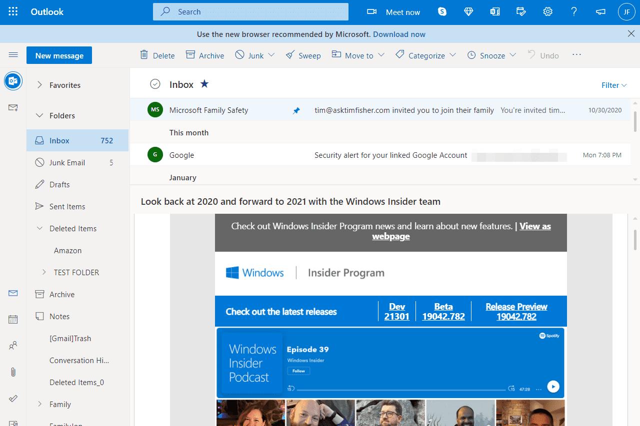 Emails in the Outlook.com inbox folder