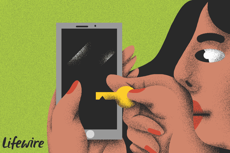 Illustration of a person unlocking their smartphone with a literal key