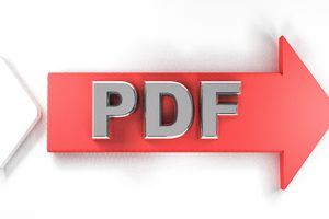 The letters PDF on a red arrow pointing to the right.