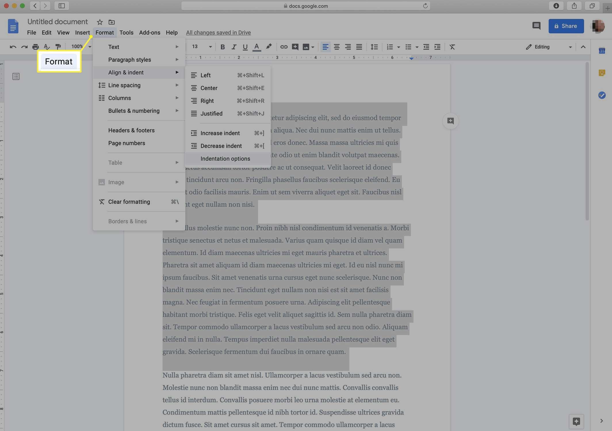 Google Docs formatting menu