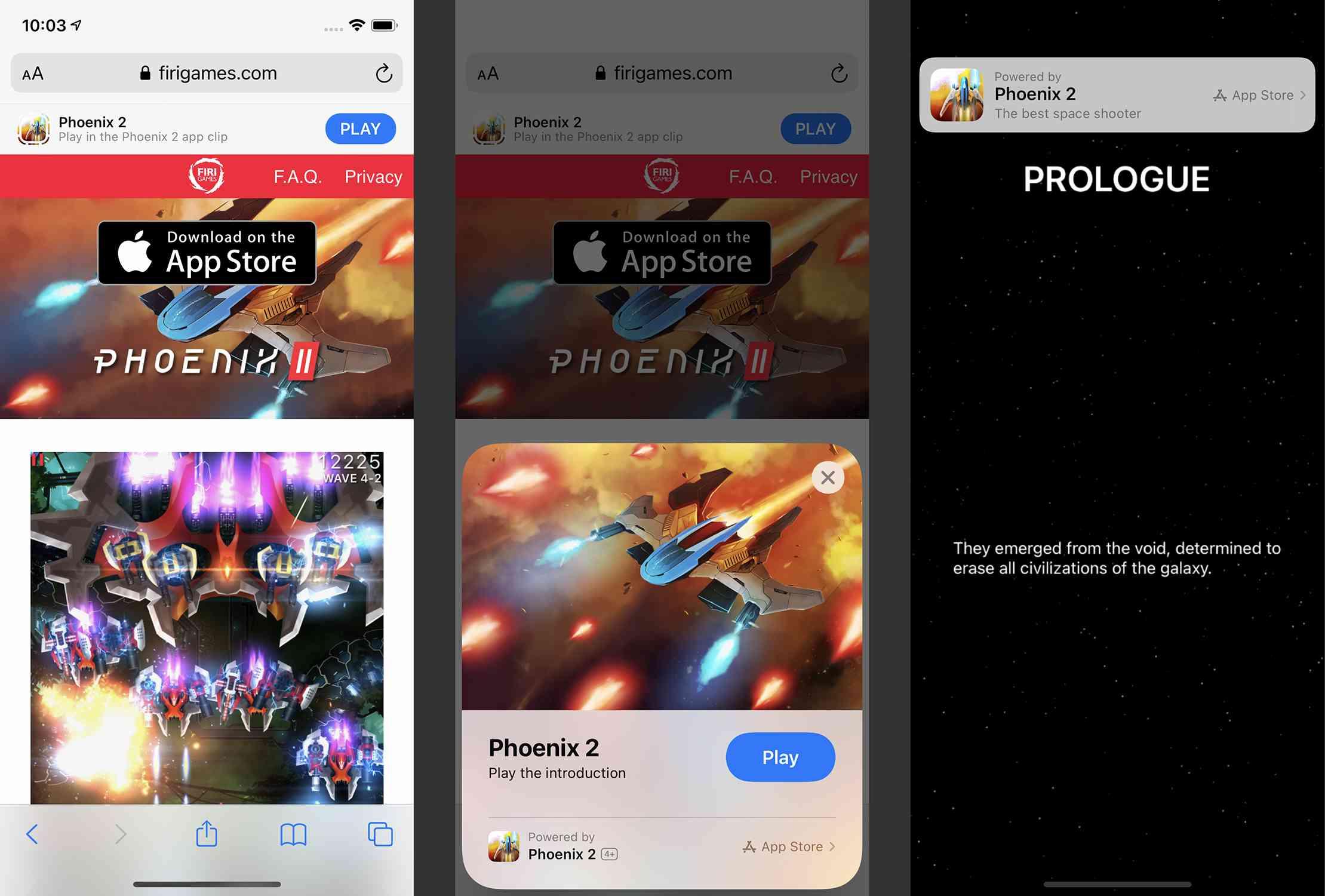Screenshots of using an App Clip on an iPhone