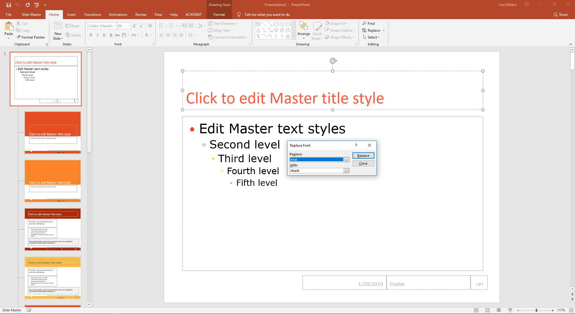 PowerPoint Replace Font dialog box
