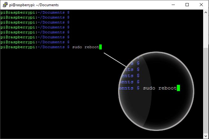 Restart a Pi using reboot in the terminal