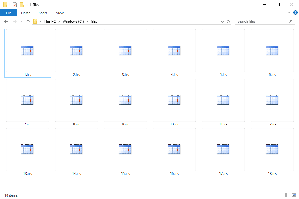 Screenshot of several ICS files that open with Microsoft Outlook in Windows 10