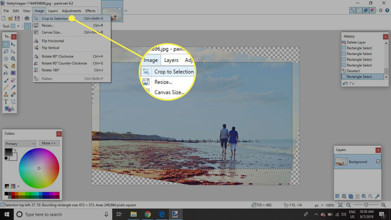 A screenshot of Paint.NET with the Crop to Selection command highlighted