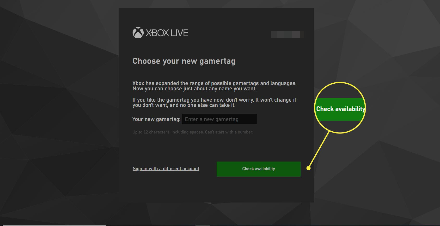 An Xbox user tries to change their gamertag. The Check Availability option is highlighted.