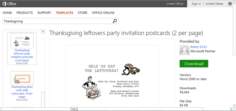 thanksgiving leftovers and football party invitation template