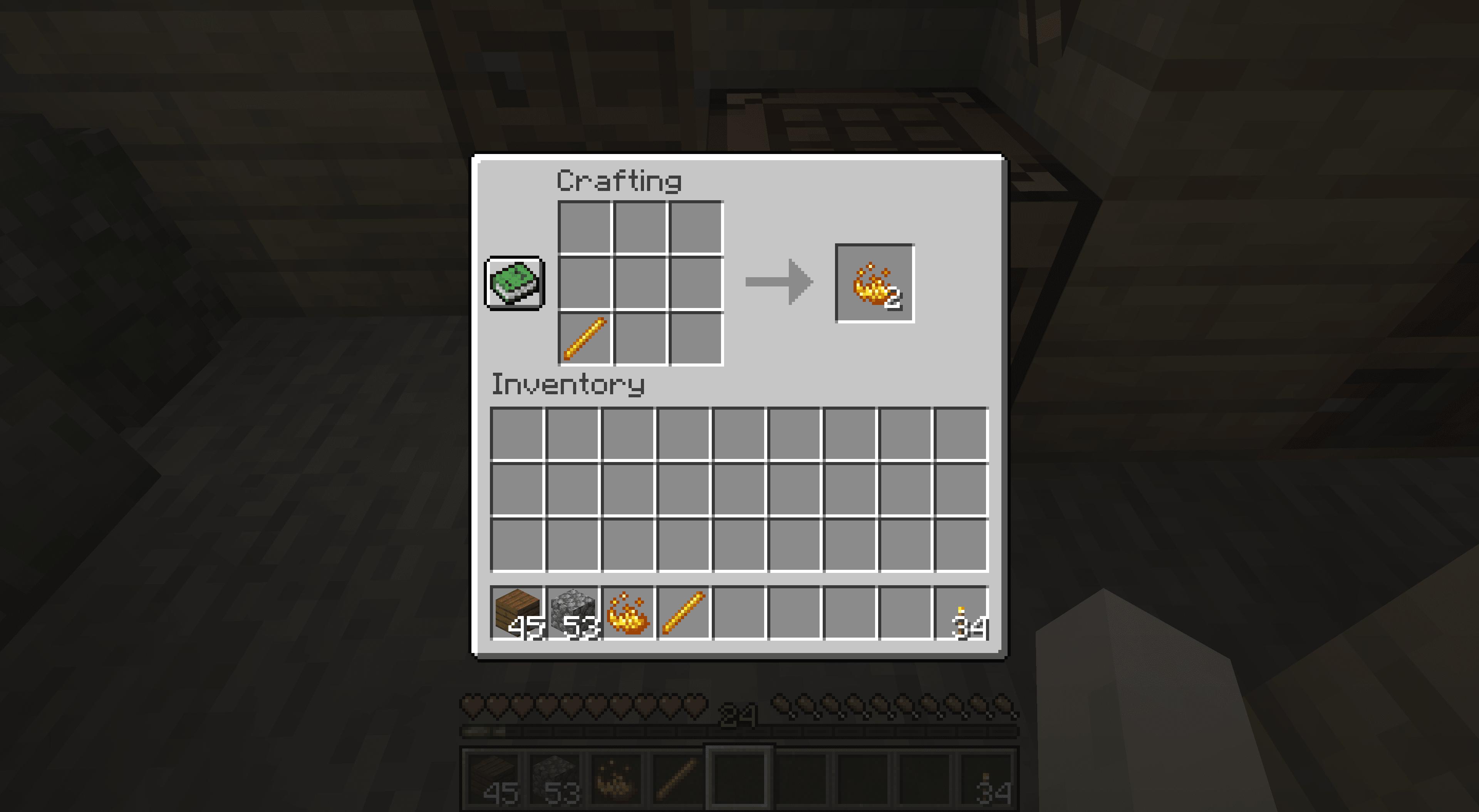 Crafting Blaze Powder in Minecraft.