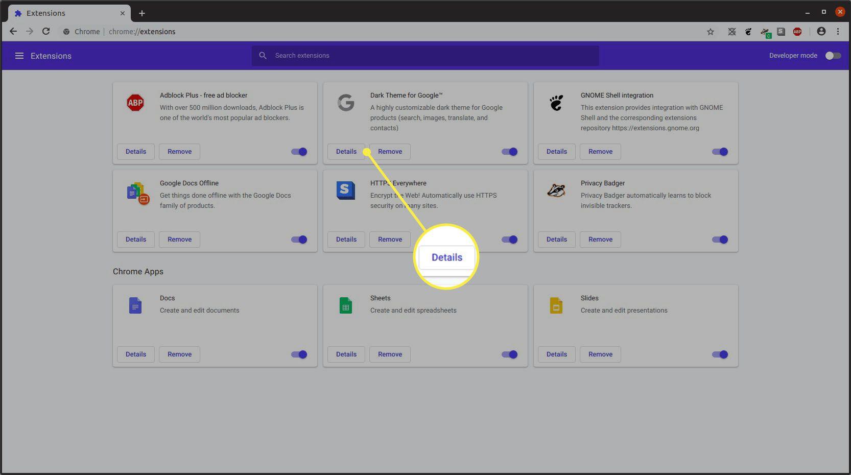 Google Chrome extensions menu page