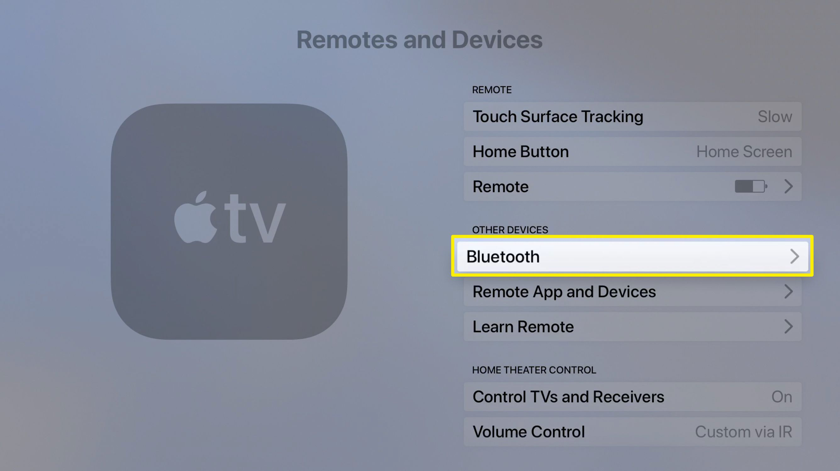 Screenshot of Apple TV Remotes and Devices screen