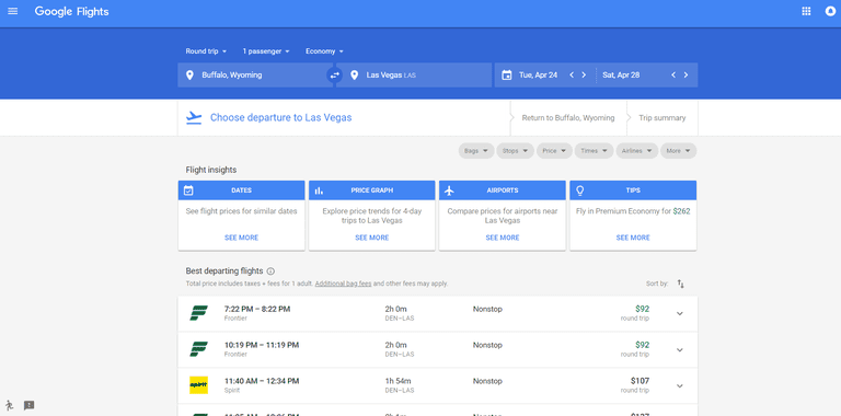 Google Flights homepage.