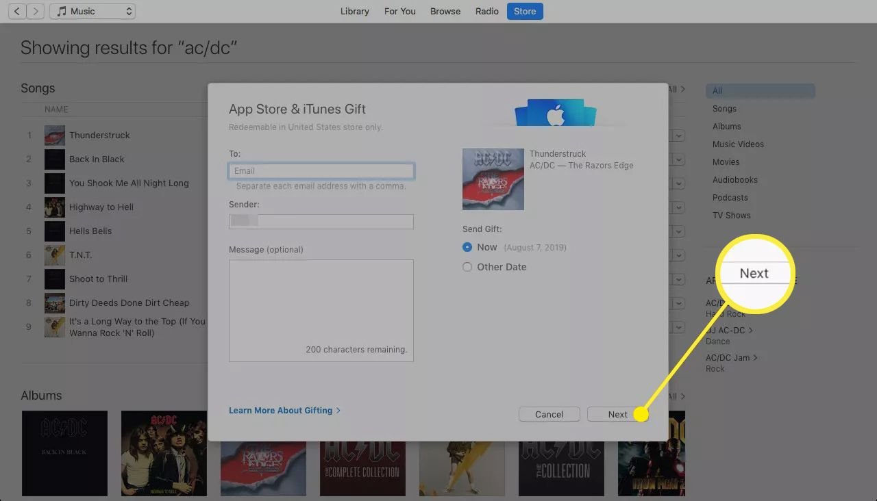 App Store Gift screen with the Next button highlighted