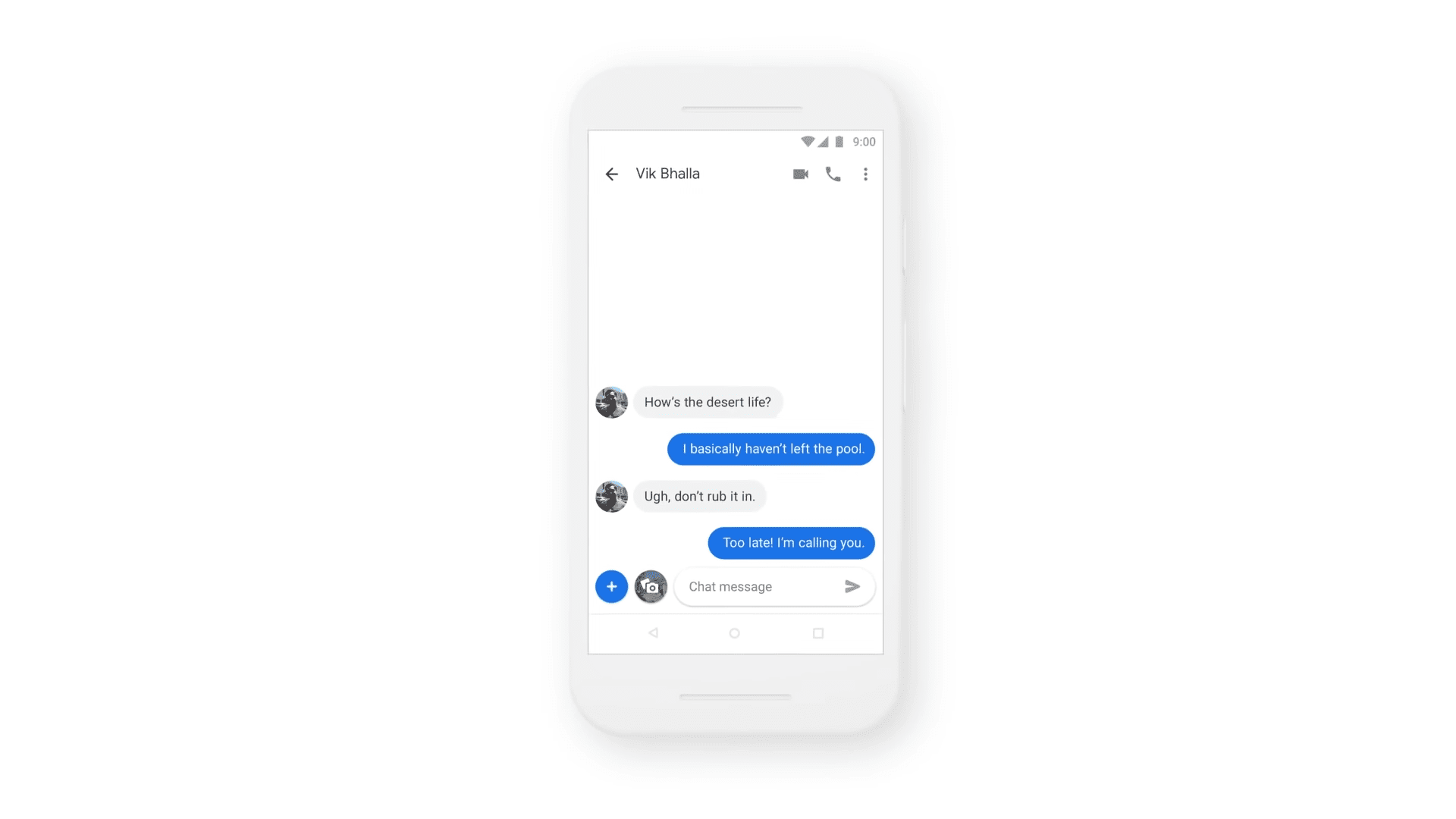 Messages by Google on a rendered smartphone