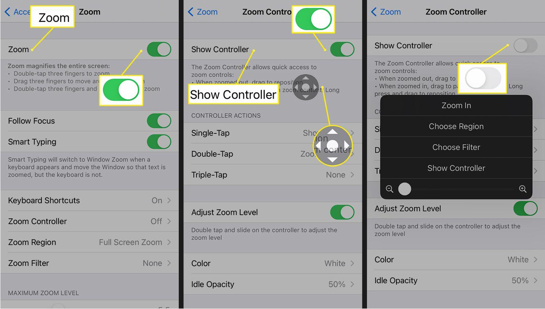 Zoom settings on iOS