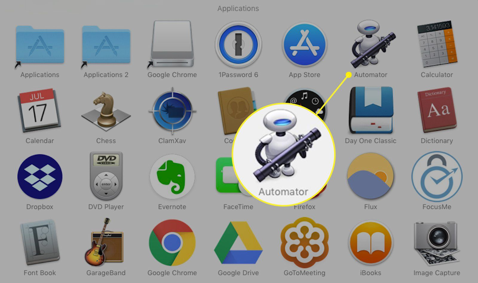 Applications folder on a Mac with Automator icon highlighted