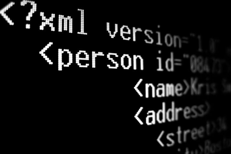 Close up of XML code