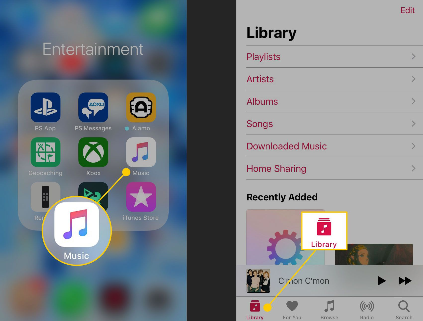 Library option in the Music app on iPhone