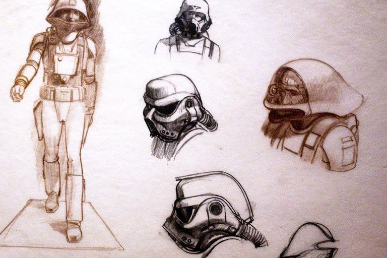 Original sketches of Imperial Storm Troopers by artist Ralph McQuarrie are exhibited April 4, 2002 at the exhibit 'Star Wars: The Magic of the Myth' at the Brooklyn Museum of Art in Brooklyn, New York. The exhibition, which is making its last stop in the United States, presents original costumes, models, props and artwork used in the original film trilogy; 'Star Wars: A New Hope,' 'The Empire Strikes Back' and 'Return of the Jedi.'