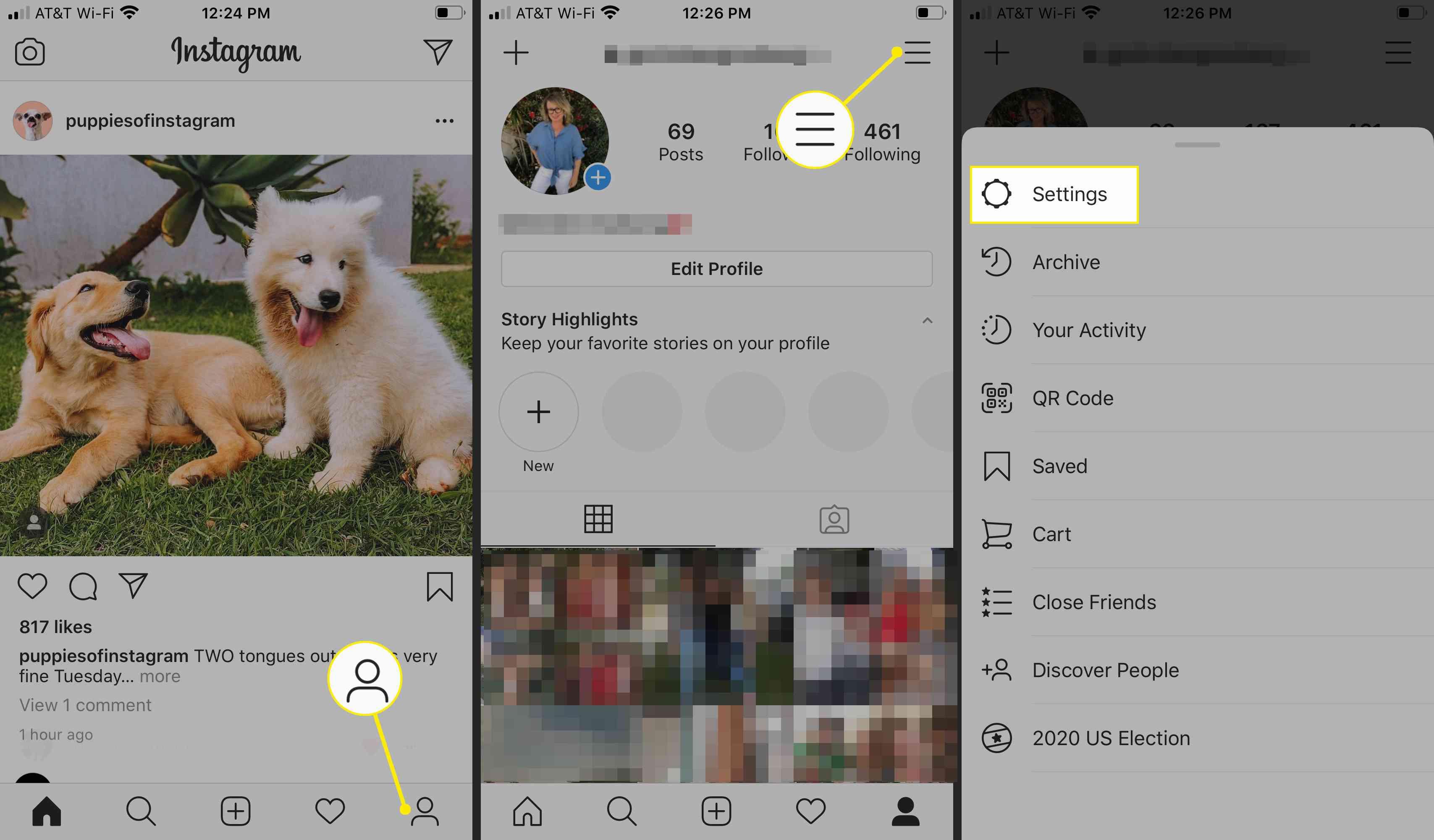 Instagram profile, account, and settings menus on iOS app