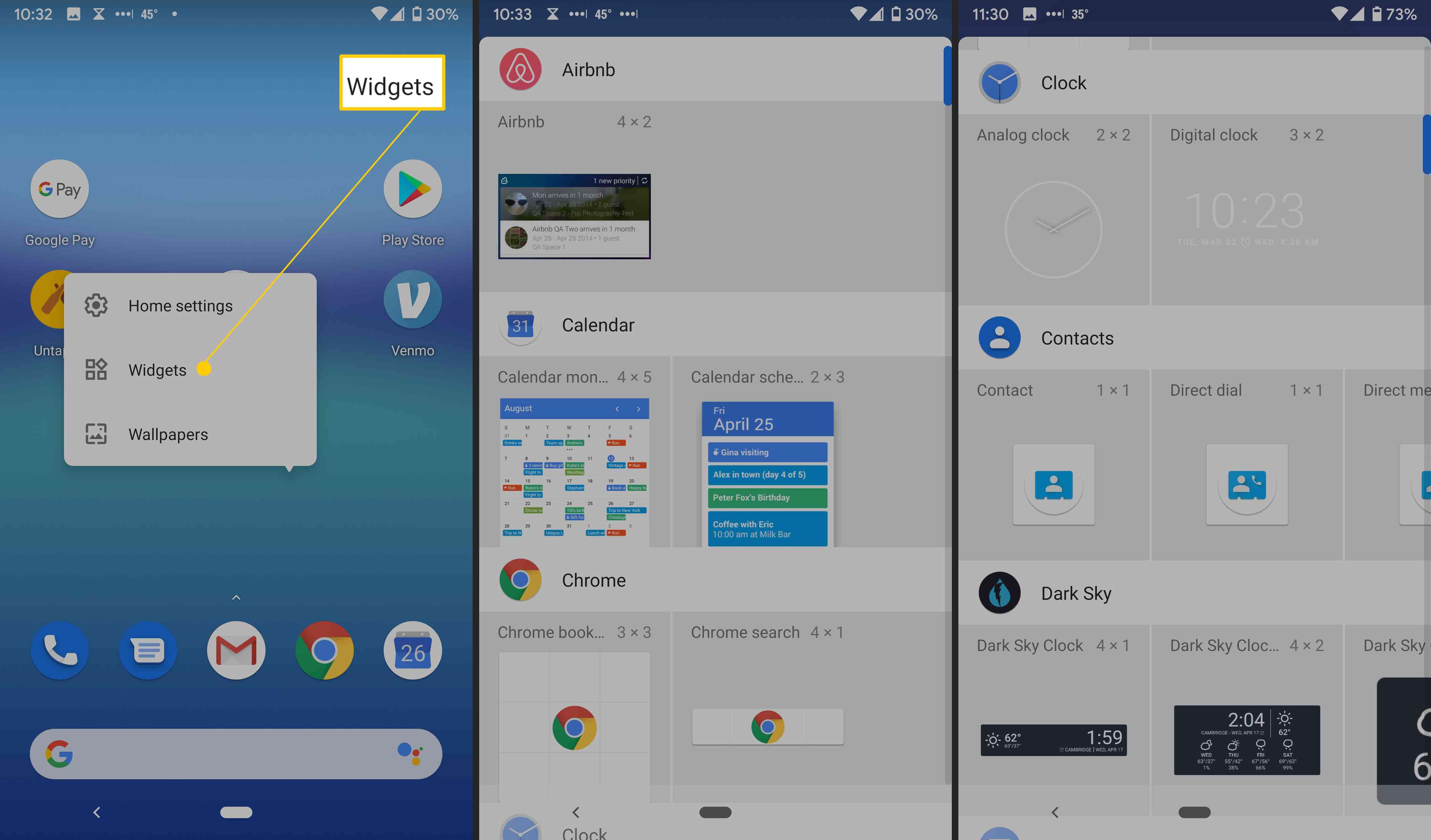 Android widget options.