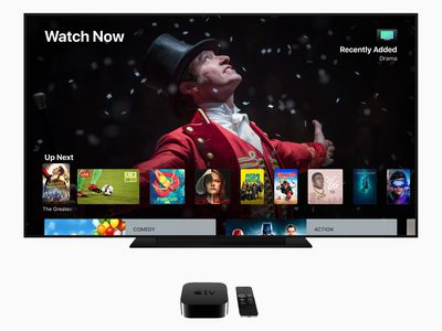 Apple TV showing on a large screen television