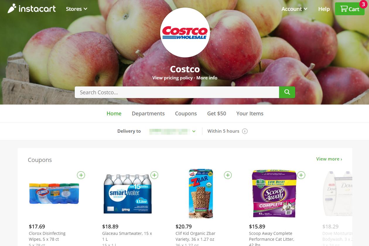 Instacart Costco page