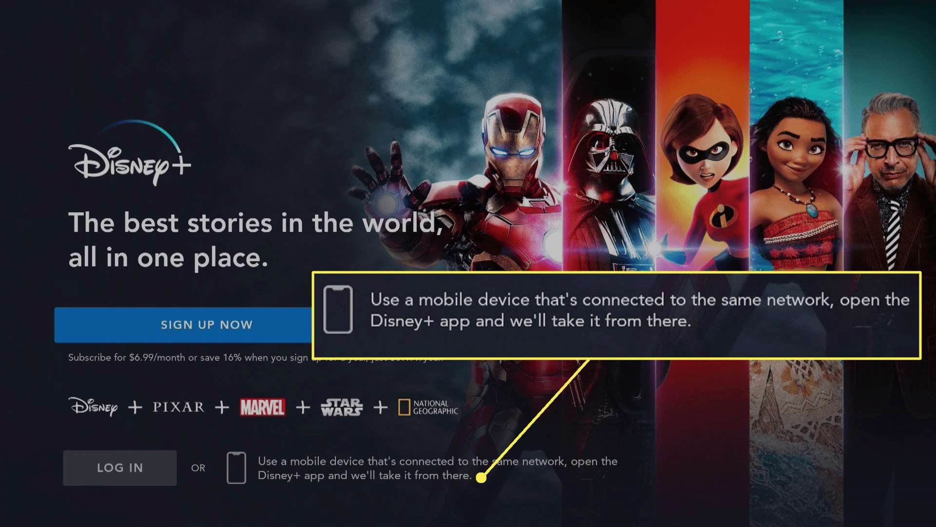 Disney Plus on Fire TV with instructions to open the Disney Plus app highlighted