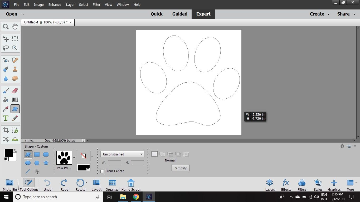 Click and drag across the document to create the shape.