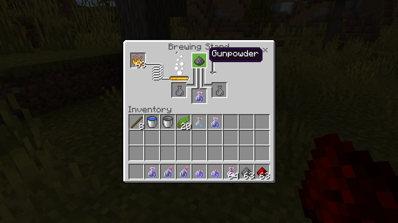 To create a Splash Potion of Weakness that you can throw at enemies, add Gunpowder to the top box of the brewing menu and a regular Potion of Weakness in the bottom box.