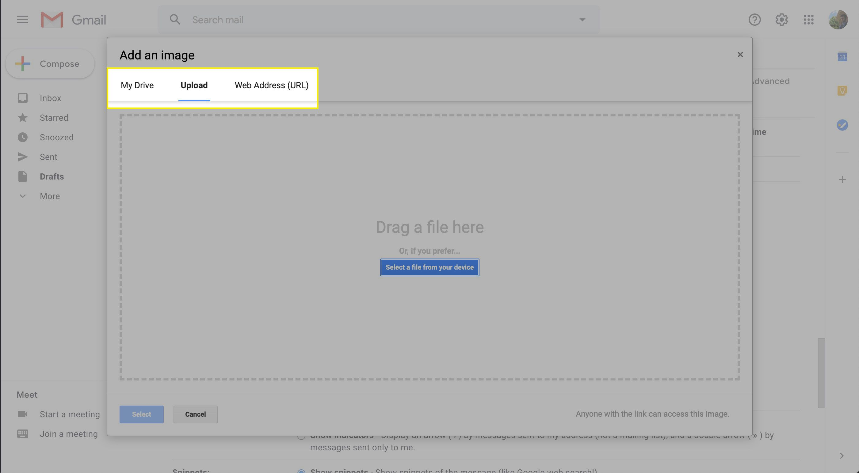 Upload options in the Add an Image window in Gmail