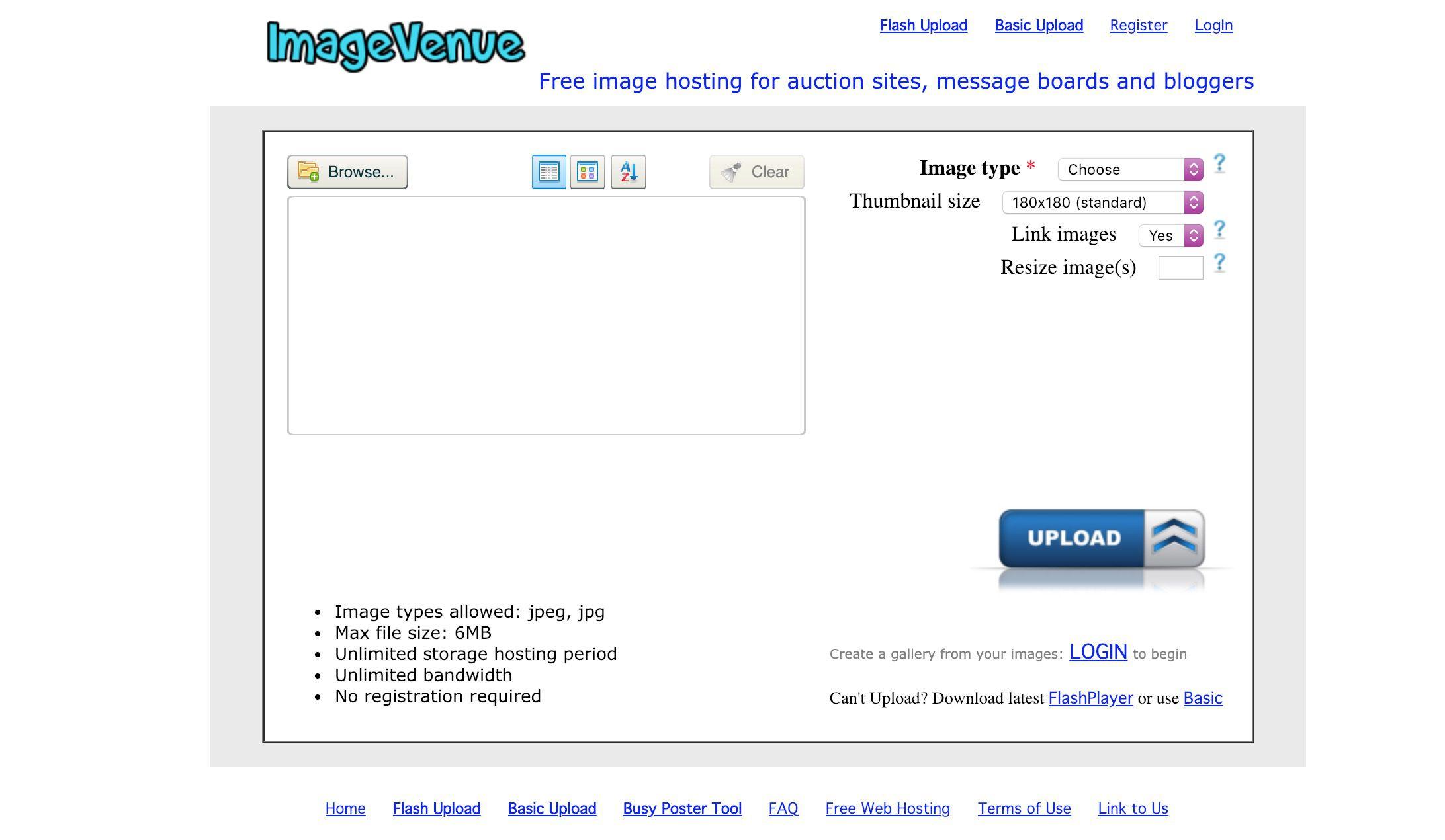 ImageVenue free photo hosting site
