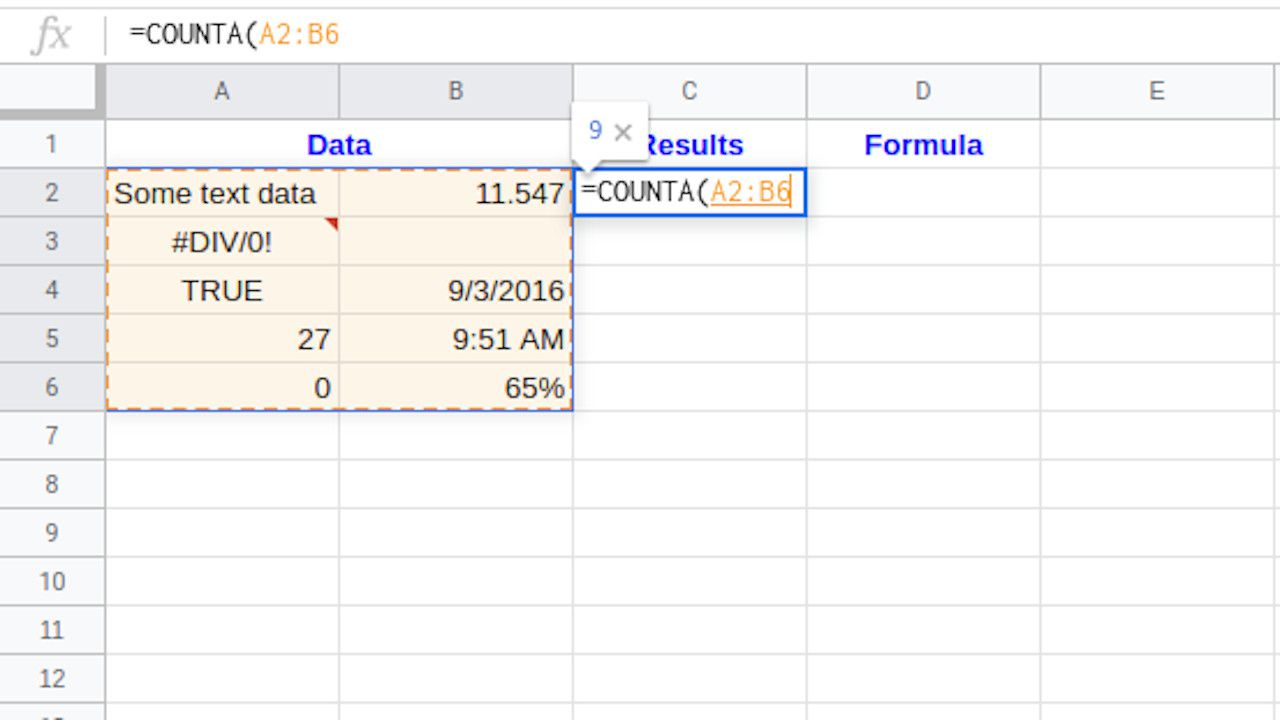 Google Sheets highlight formula range