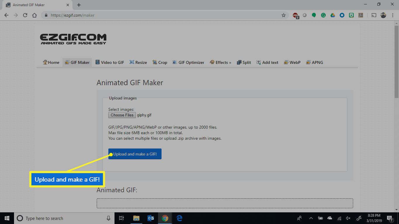 Upload and make a GIF in the Animated GIF Maker screen