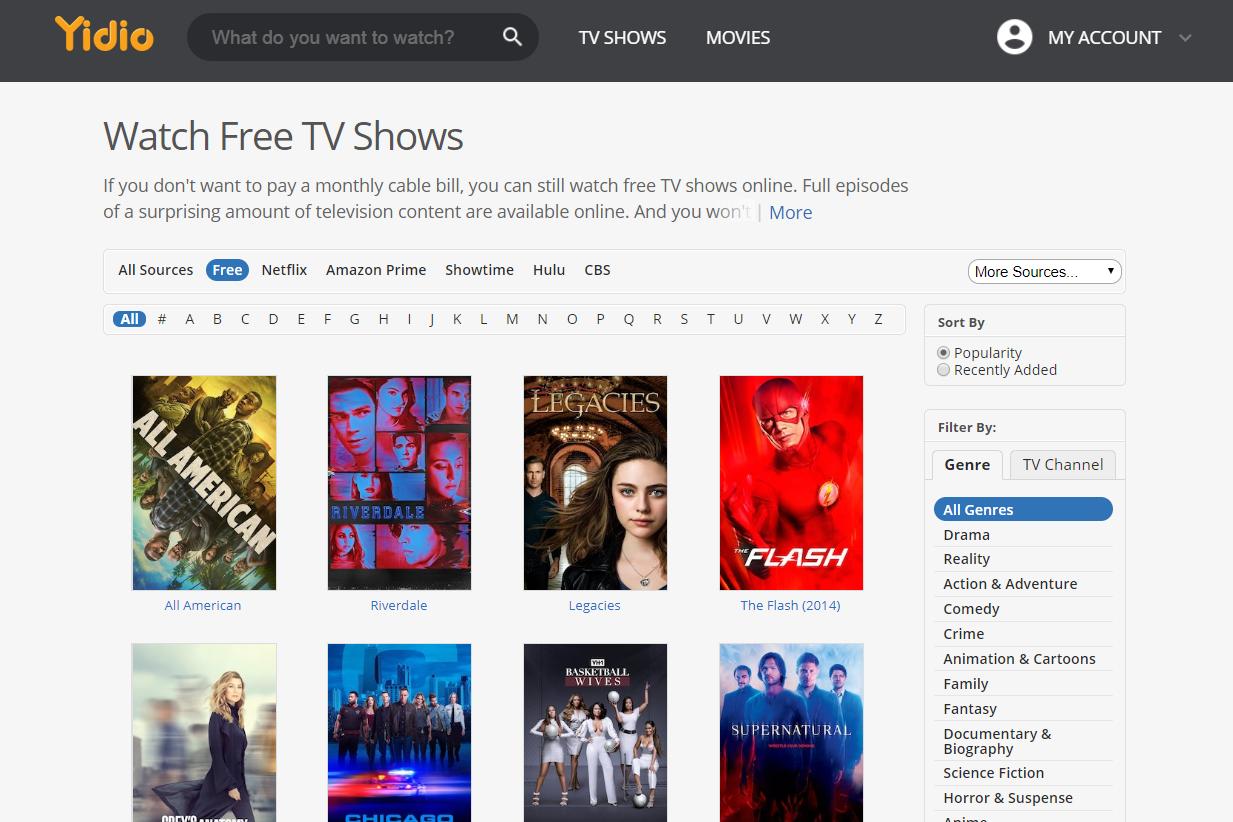 Free TV shows at Yidio