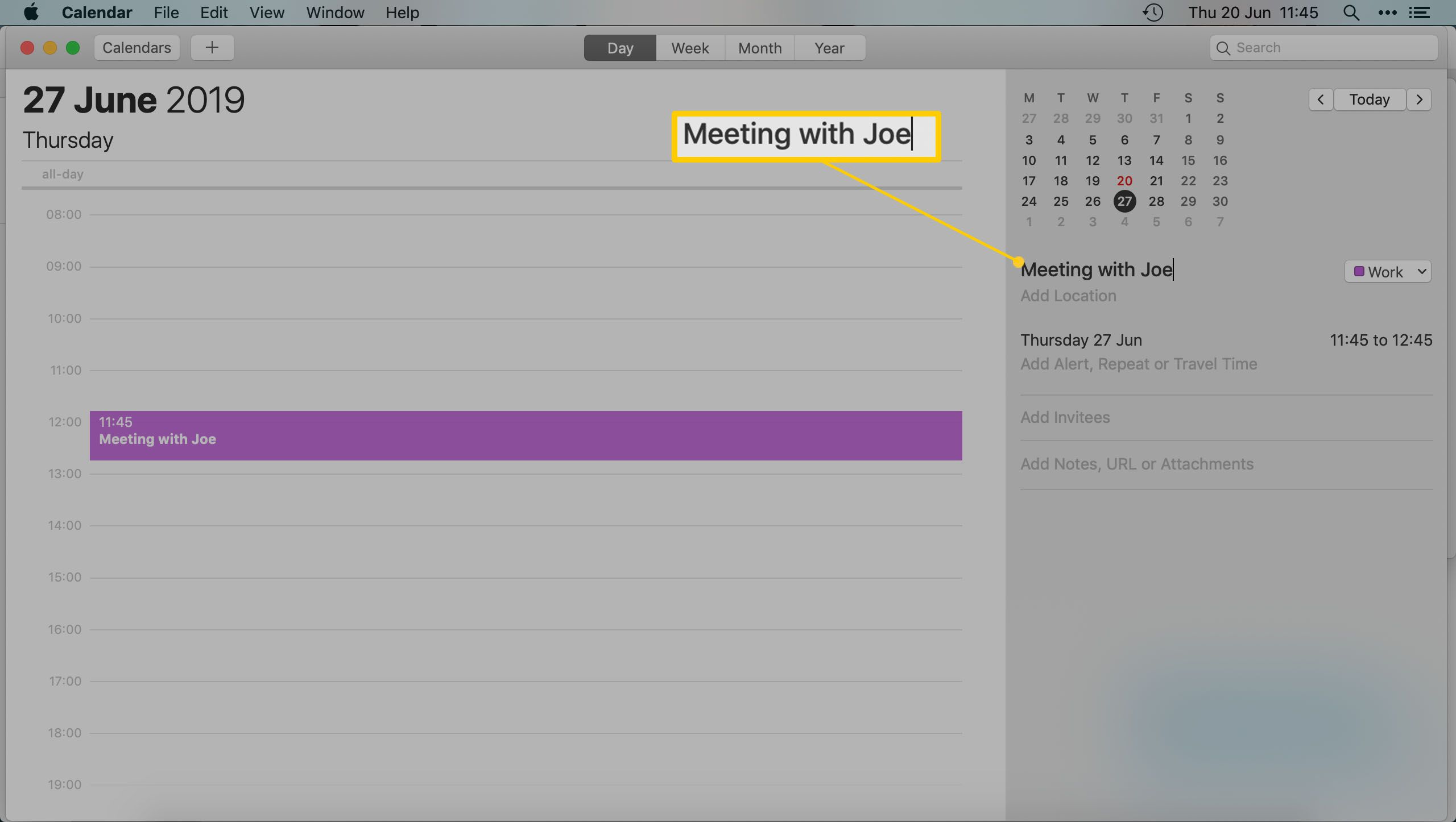 The Mac Calendar App - Entering the name of a meeting or appointment