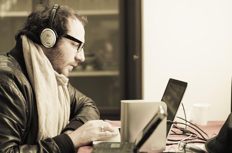 Man listens to music with headphones