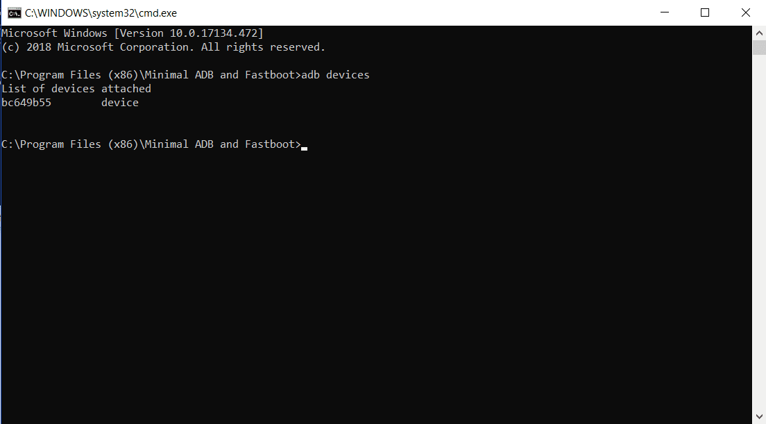 Screenshot of the adb devices command.