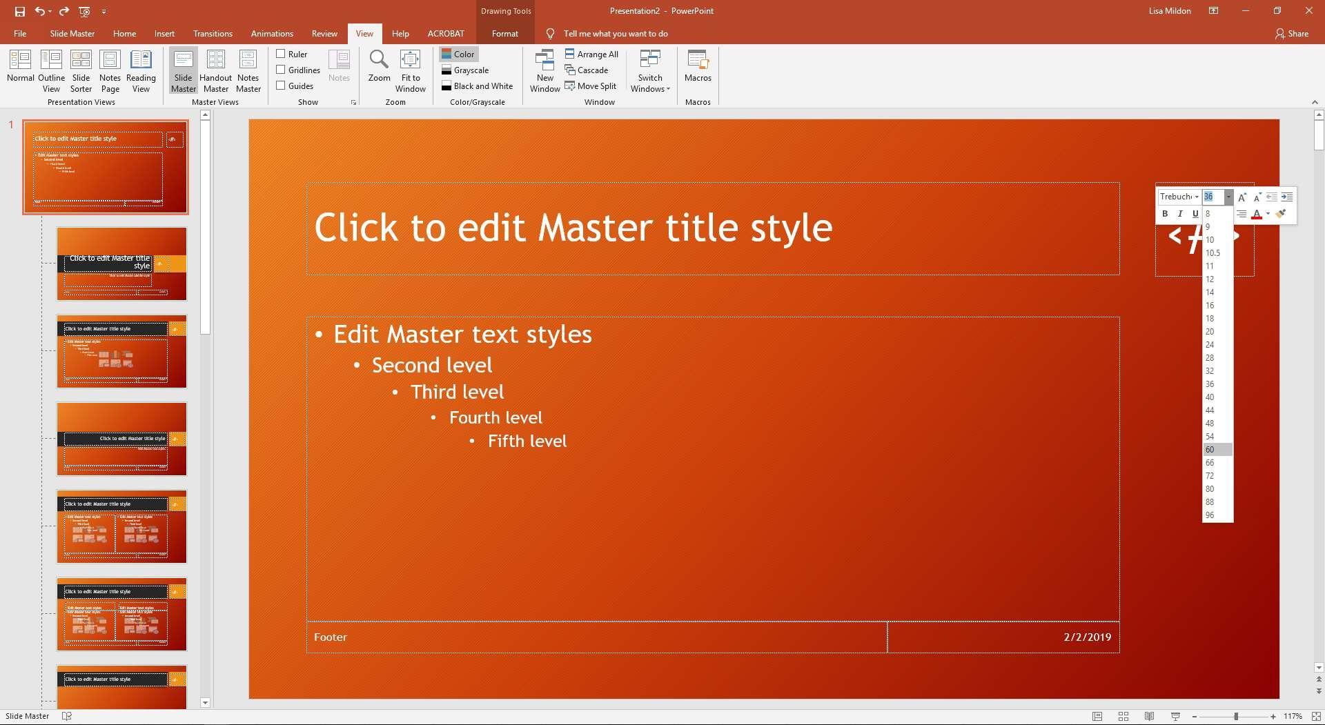 PowerPoint slideshow displaying font dialog.