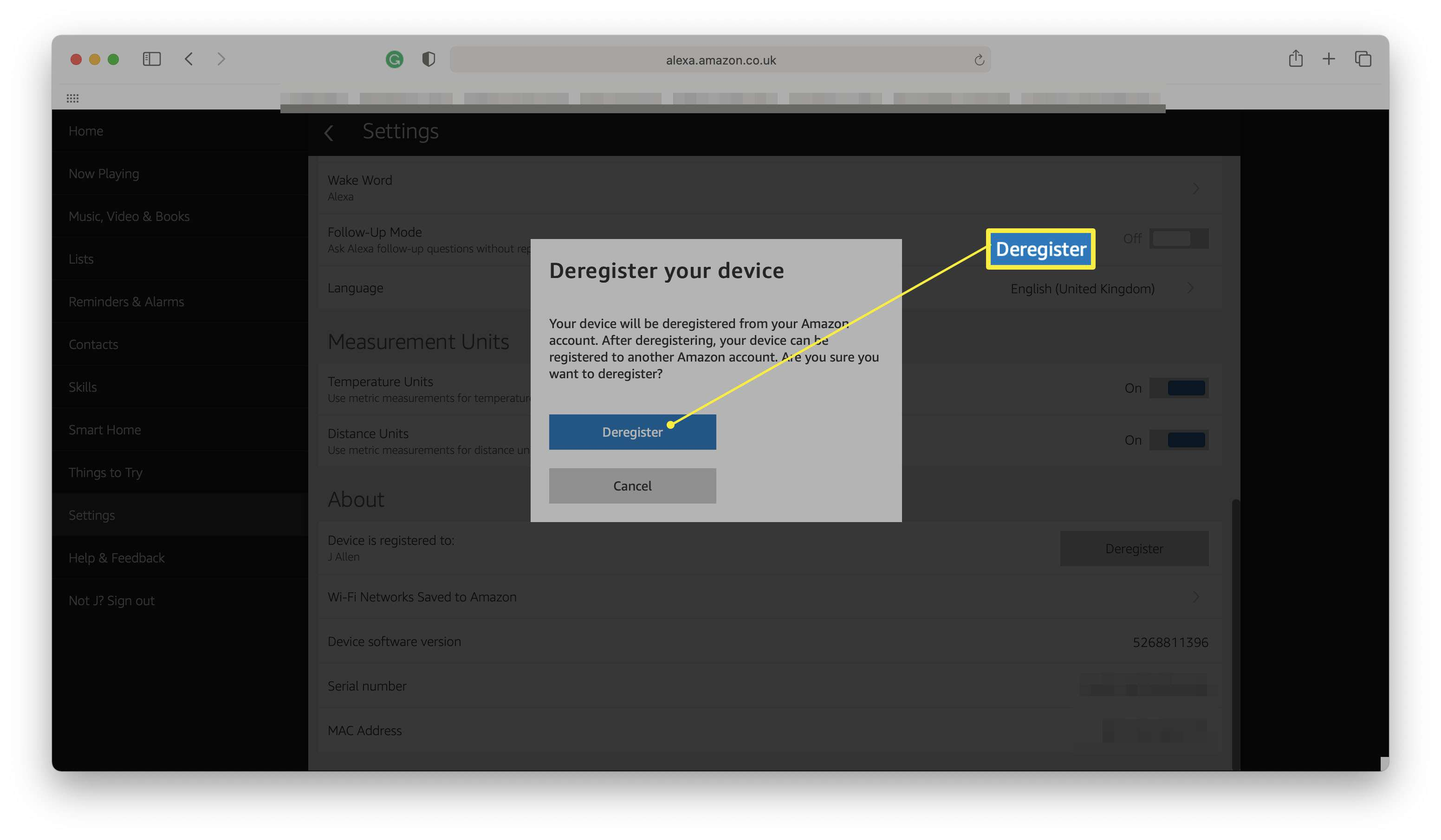 Alexa website with Deregister your device highlighted