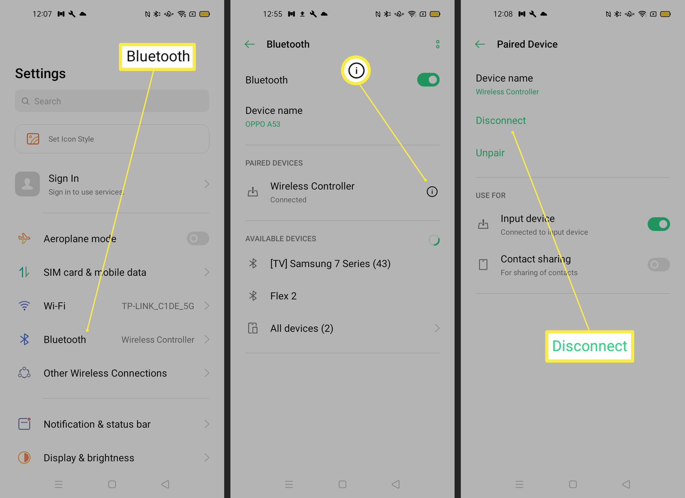 Steps needed to disconnect a controller on an Android phone