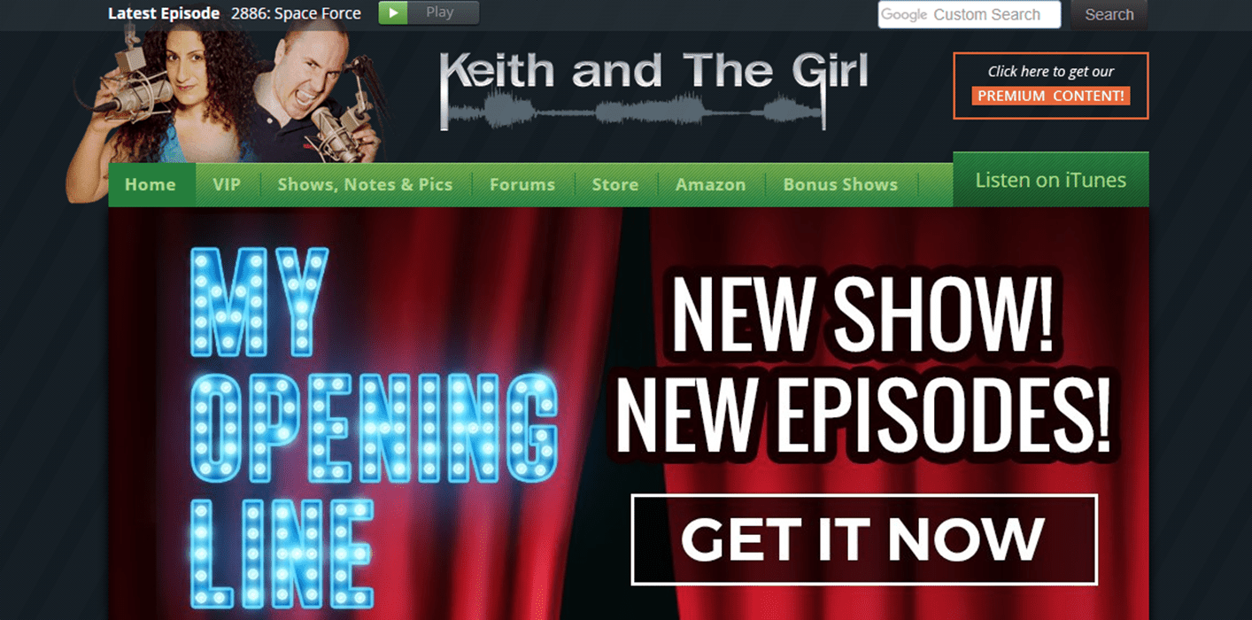 A screenshot from the Keith and The Girl comedy talk show podcast website.