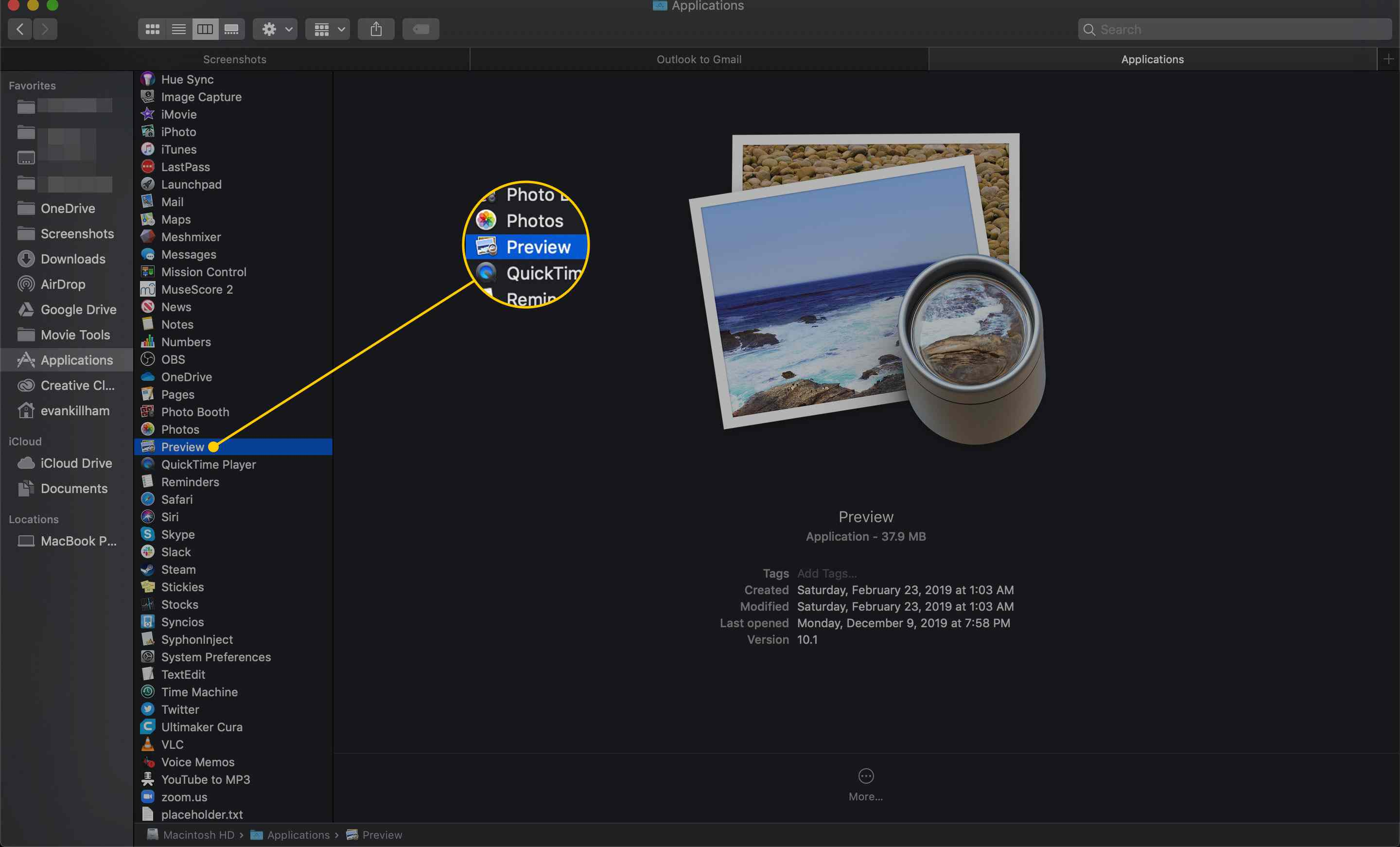 Preview application on a Mac
