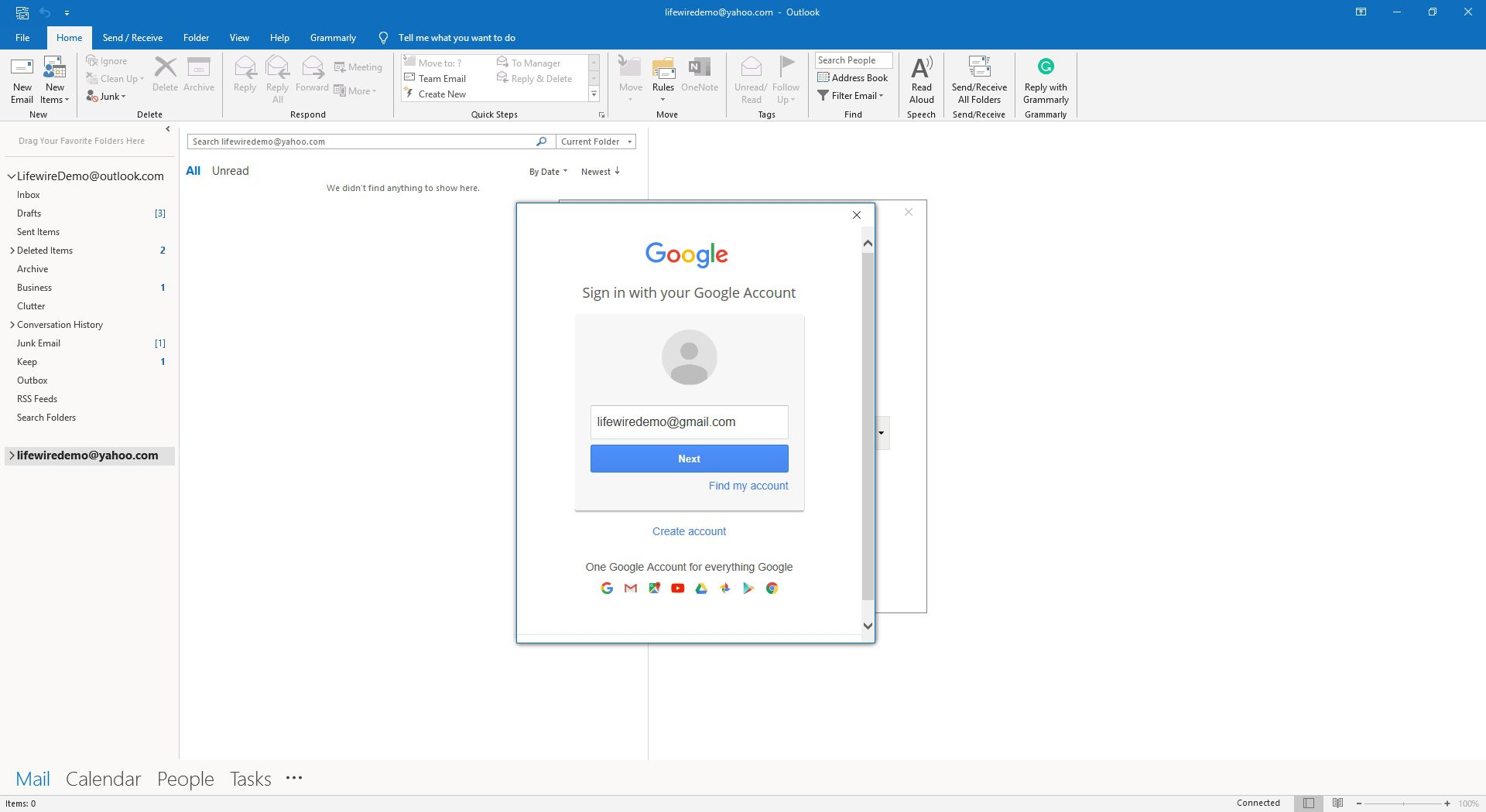 Logging into Gmail to enable access.