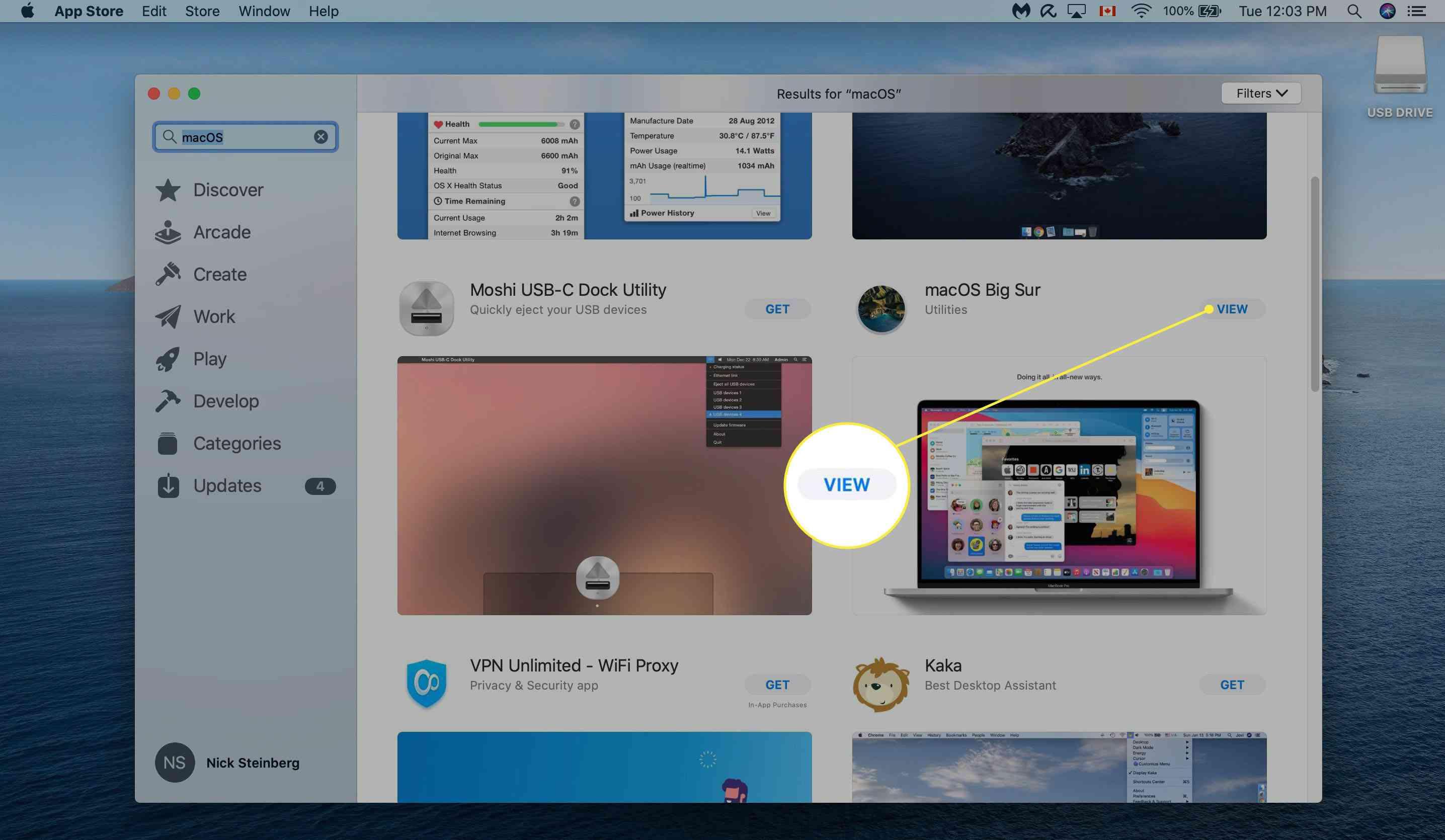 Locating macOS Big Sur in App Store.