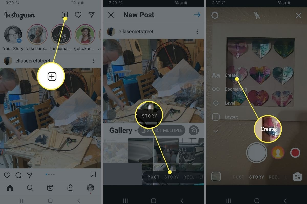New Post button, Story button, and Create in Instagram