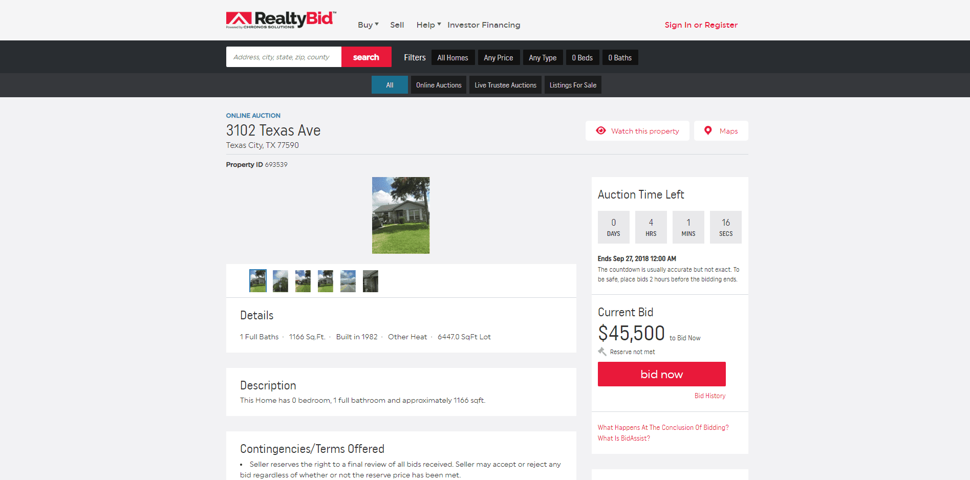 An active online home auction on the RealtyBid website.